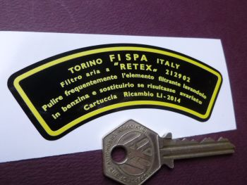"FISPA Torino Italy Yellow & Black Air Filter Air Con Sticker. Ferrari Maserati etc. 3.75""."