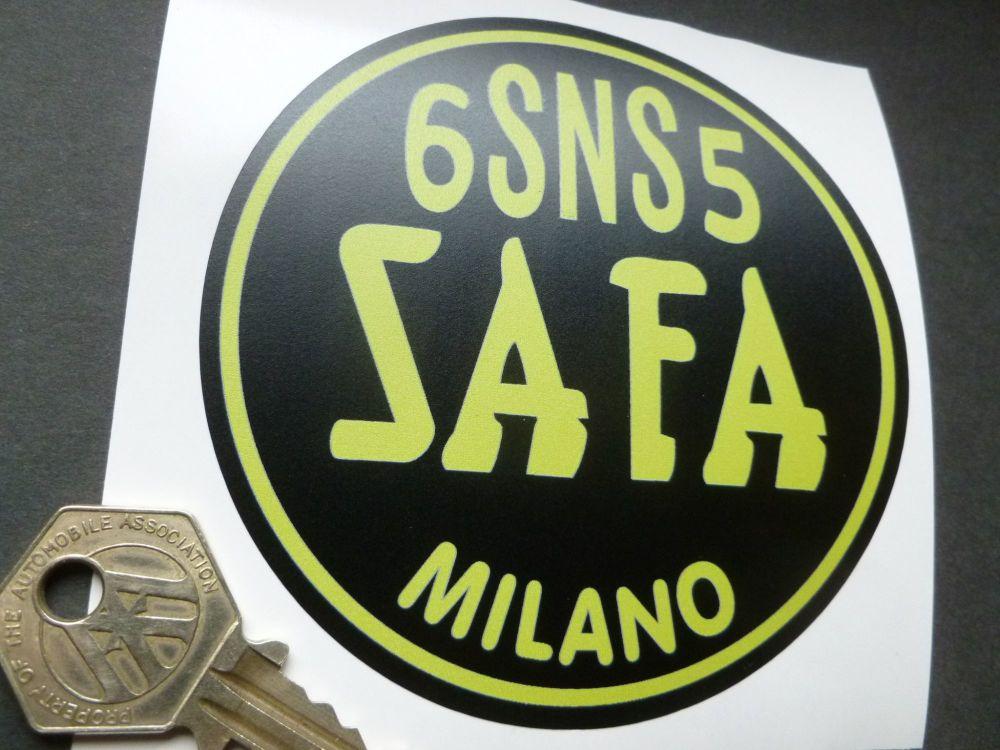 "SAFA Milano Italy Yellow & Black Vintage Battery Sticker. Ferrari Maserati etc. 3.75""."