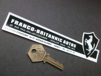 Franco Britannic Autos Paris. Ferrari, Rover, Land Rover, Bentley and Rolls Royce Dealer Window Sticker. 170mm