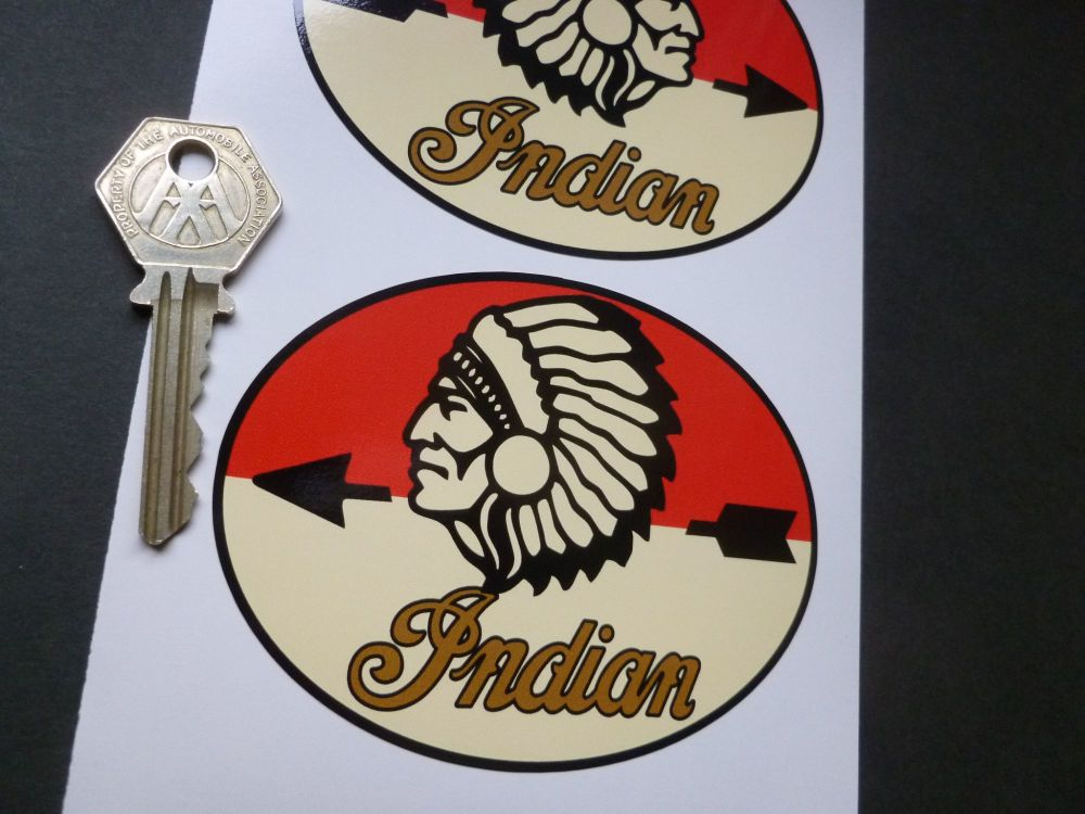 "Indian Chief Oval Shaped Stickers. 4"" Handed Pair."