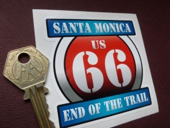"Route 66 Santa Monica End of the Trail  Vintage Style Red & Blue Shield Car Body or Window Sticker. 3""."