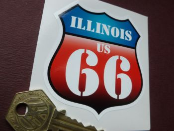 "Route 66 Illinois Vintage Style Red & Blue Shield Car Body or Window Sticker. 3""."
