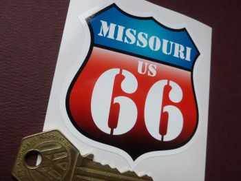 "Route 66 Missouri  Vintage Style Red & Blue Shield Car Body or Window Sticker. 3""."
