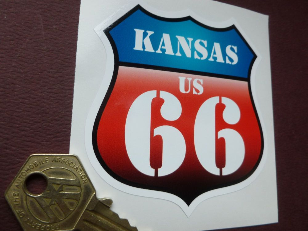 "Route 66 Kansas Vintage Style Red & Blue Shield Car Body or Window Sticker. 3""."