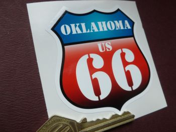"Route 66 Oklahoma Vintage Style Red & Blue Shield Car Body or Window Sticker. 3""."