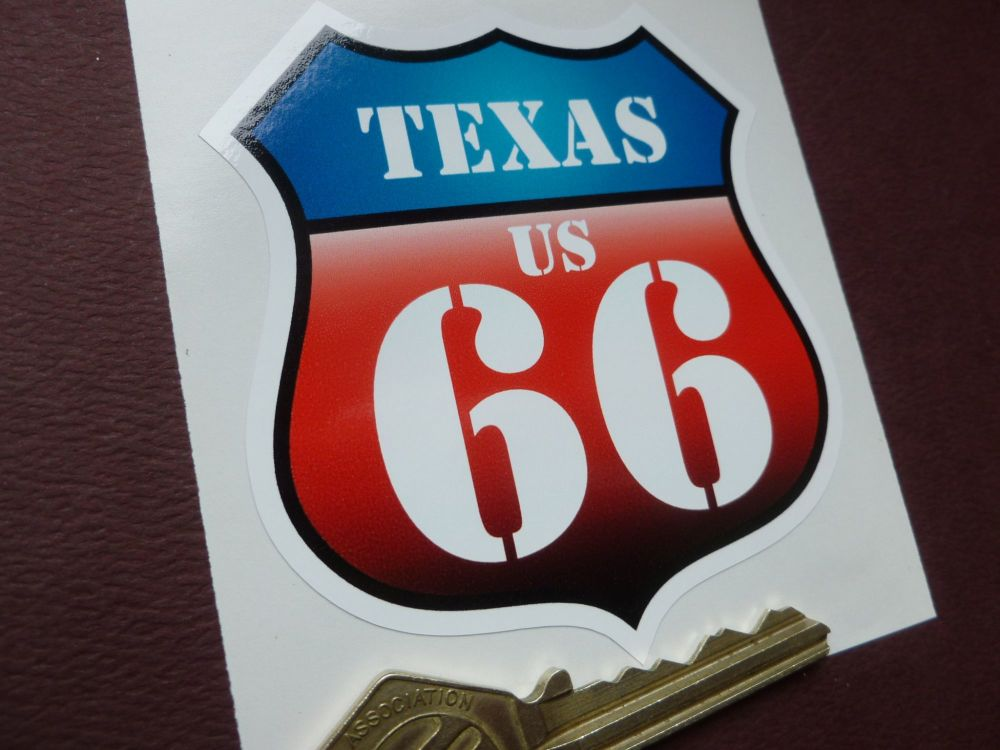 "Route 66 Texas Vintage Style Red & Blue Shield Car Body or Window Sticker. 3""."