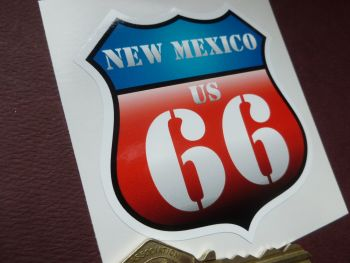 "Route 66 New Mexico Vintage Style Red & Blue Shield Car Body or Window Sticker. 3""."
