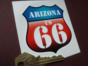 "Route 66 Arizona Vintage Style Red & Blue Shield Car Body or Window Sticker. 3""."