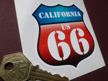 "Route 66 California Vintage Style Red & Blue Shield Car Body or Window Sticker. 3""."