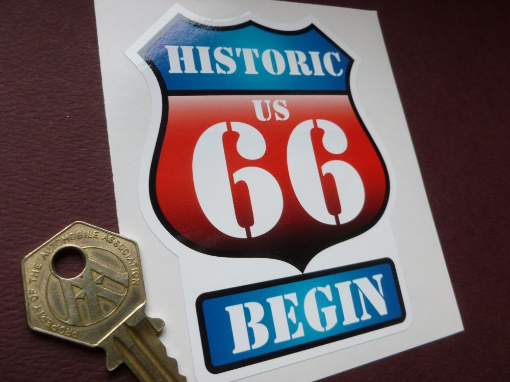 "Route 66 'Historic US 66 Begin' Vintage Style Red & Blue Shield Car Body or Window Sticker. 3.75""."