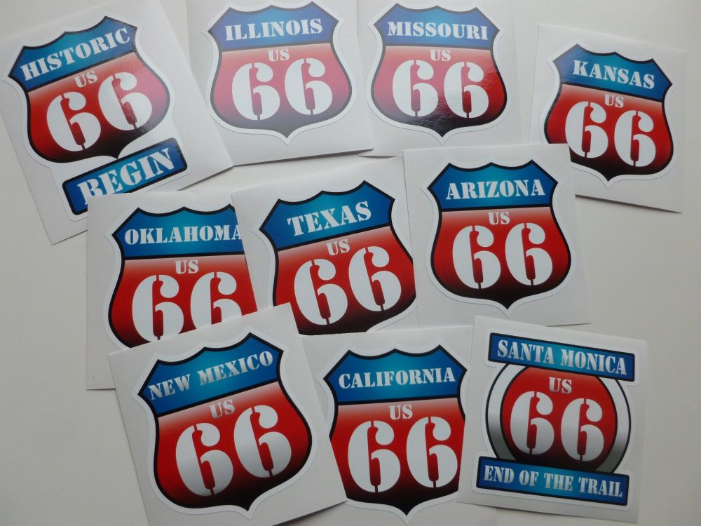 "Route 66 Historic US66 Full Set of State and Begin/End Vintage Style Shield Car Body or Window Stickers. Set of 10. 3""."
