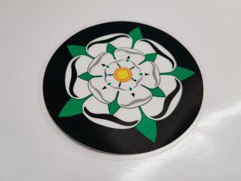 "Yorkshire White Rose Circular Window Sticker. 4""."