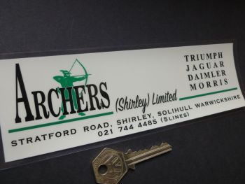 "Archers Shirley & Solihull Jaguar Daimler Triumph Morris Dealers Window Sticker. 8""."