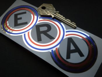 ERA Red, White, Blue, Black and Foil Shaped Classic Race Car Sticker 5.5""