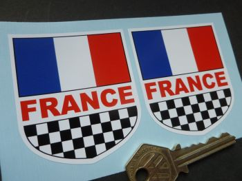 "France Check & Tricolore Shield Shaped Stickers. 2.5"" Pair"