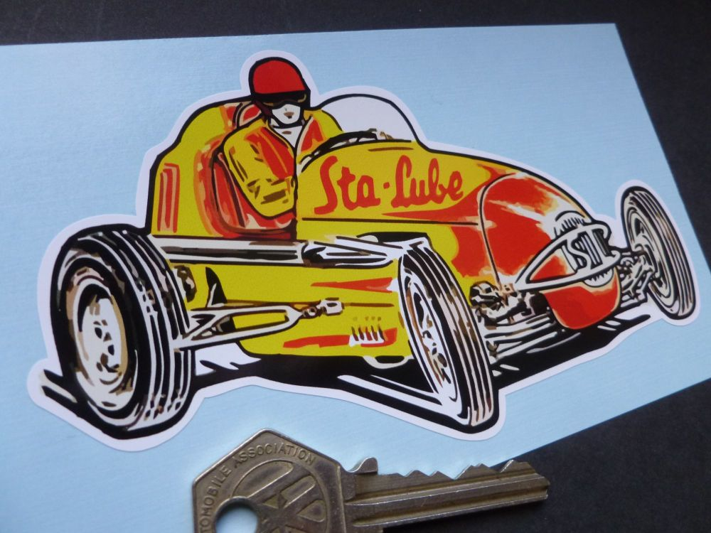 "Sta-Lube USA Midget Racing Car Sticker. 5.5"""
