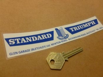 "Standard Triumph Glen Garage Bletchley Dealer Sticker. 7""."