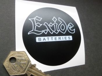 Exide Circular White on Matt Black Battery Sticker  3""