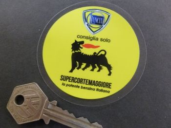 Lancia Consiglia Solo Recommend Only Supercortemaggiore Oil & Petrol Vintage Style Window or Body Sticker. 66mm.