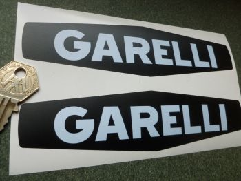 "Garelli White on Black Gas Tank Stickers. 7"" Pair."