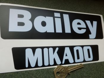 "Bailey Mikado Classic Caravan Stickers. 7"" and 9"" Pair."