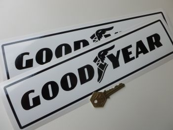 "Good Year Text & Logo Black on White Oblong Stickers. 9.5"" or 12"" Pair."