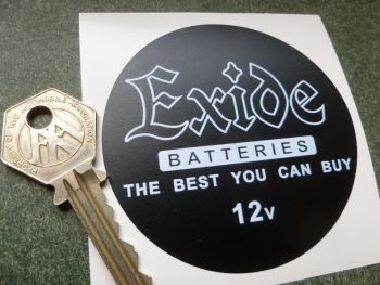 Exide The Best You Can Buy 12 Volt Circular White on Matt Black Battery Sticker  3""