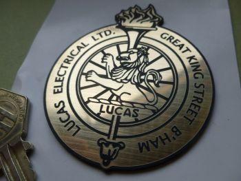 "Lucas Electrical Ltd. Birmingham Lion & Torch Laser Cut Self Adhesive Badge. 3""."