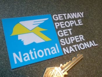 "National Getaway People Get Super National. 60's 70's Style Window Sticker. 5""."