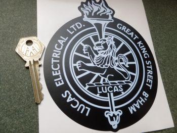 "Lucas Electrical Ltd. Birmingham Lion & Torch White & Black Sticker 6"""