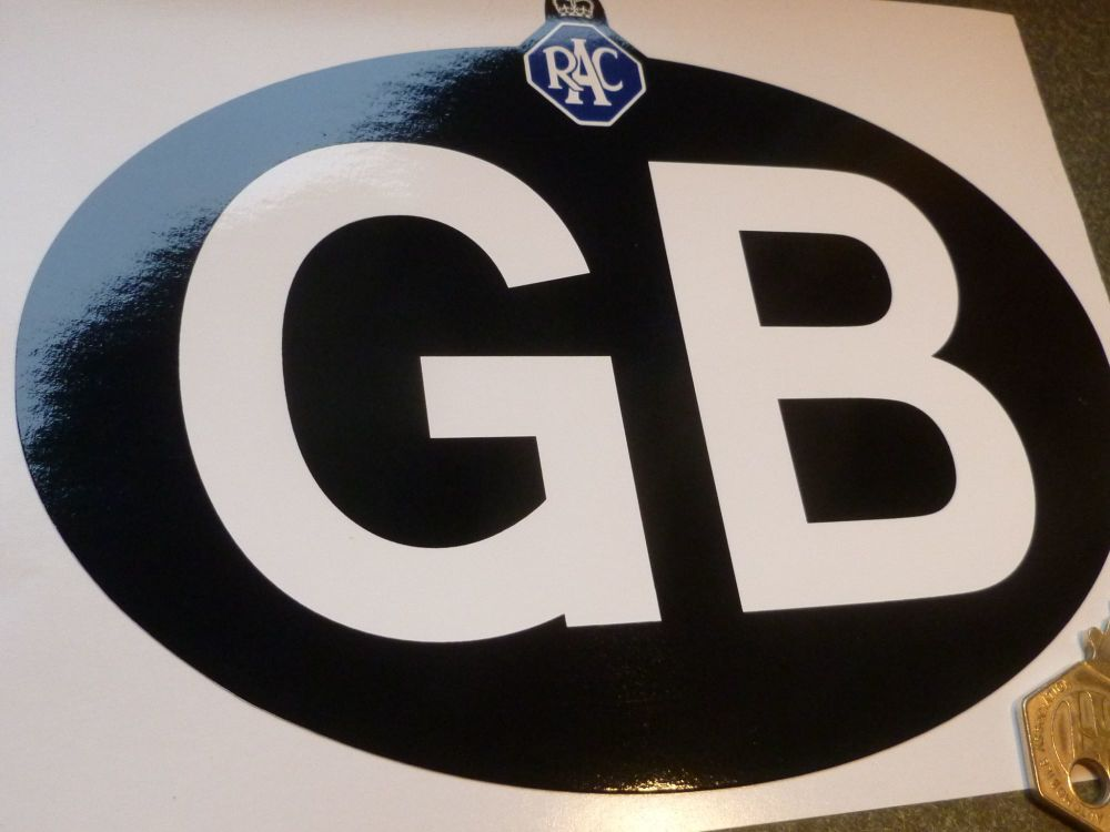 "GB Old RAC Black on White or White on Black ID Plate Sticker. 7""."