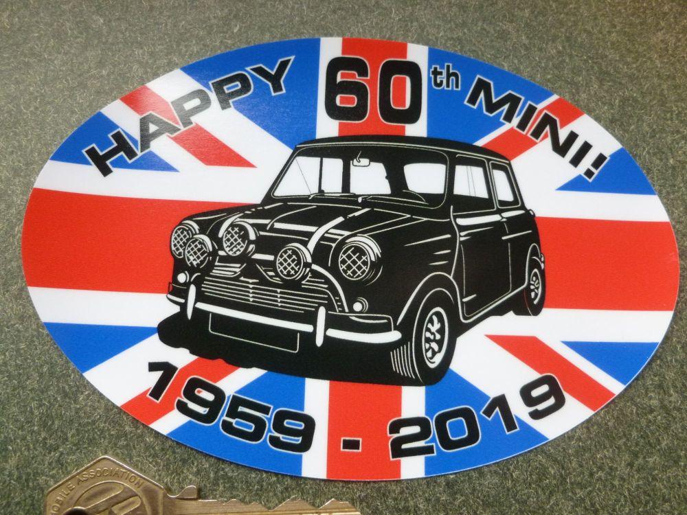 "Happy 60th 1959-2019 Mini Car Body or Window Sticker. 5.5"""