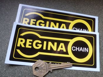 "Regina Chain. Black, Yellow & White Oblong Stickers. 3.75"" or 5.5"" Pair."