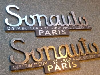 Sonauto Porsche 356 etc. Laser Cut Self Adhesive Badge. Gold or Silver. 100mm.