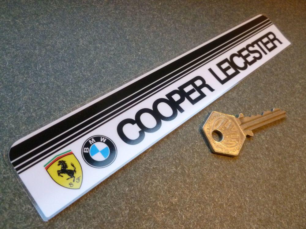 "Cooper Leicester BMW Ferrari Dealer Window Sticker. 8""."