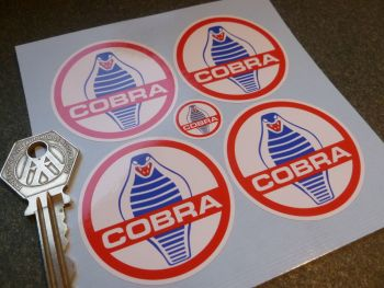 AC Cobra White Background Wheel Centre Stickers. Set of 4  50mm.