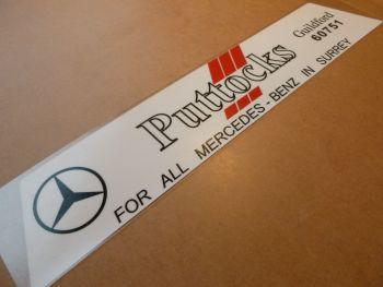 """PUTTOCKS Surrey  Mercedes Benz Dealers Window Sticker. 12""""."""