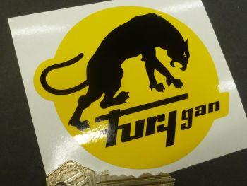 "Furygan Old Style Black & Yellow Sticker. 4""."