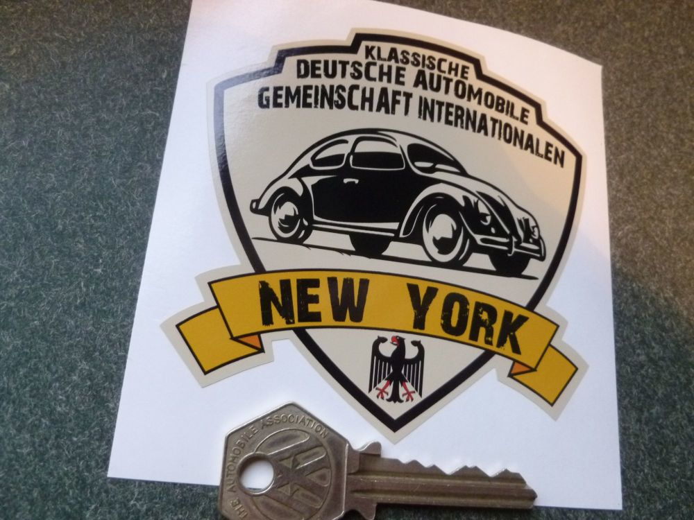 "German Classic Automobile Association International New York Sticker. 3.5""."