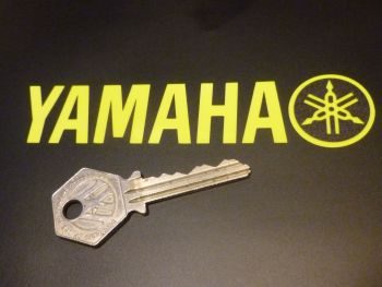 "Yamaha (Suits MT-09) Shaped and Handed Black & Fluorescent Yellow Stickers. 4.75"" Pair."