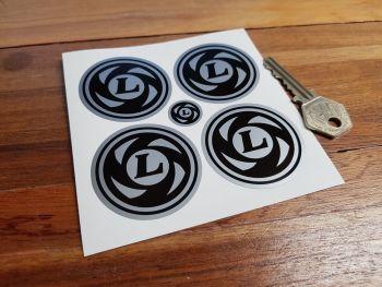 British Leyland Wheel Centre Stickers. Black & Coachline Style. Various Sizes. Set of 4.