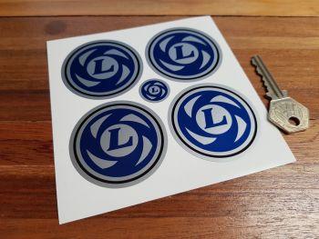 British Leyland Wheel Centre Stickers. Blue & Black Coachline Style. Various Sizes. Set of 4.