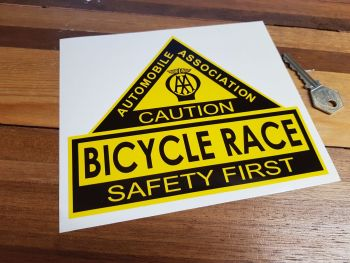 "AA Bicycle Race. Safety First. Shaped Sticker. 6.5""."
