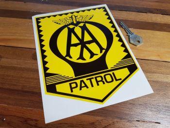"AA Patrol Sign Sticker. 7.75""."