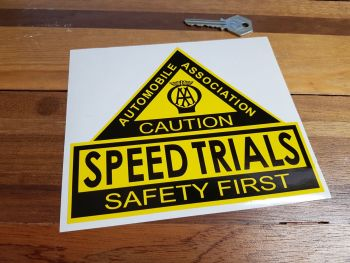 "AA Speed Trials. Safety First. Shaped Sticker. 6.5""."