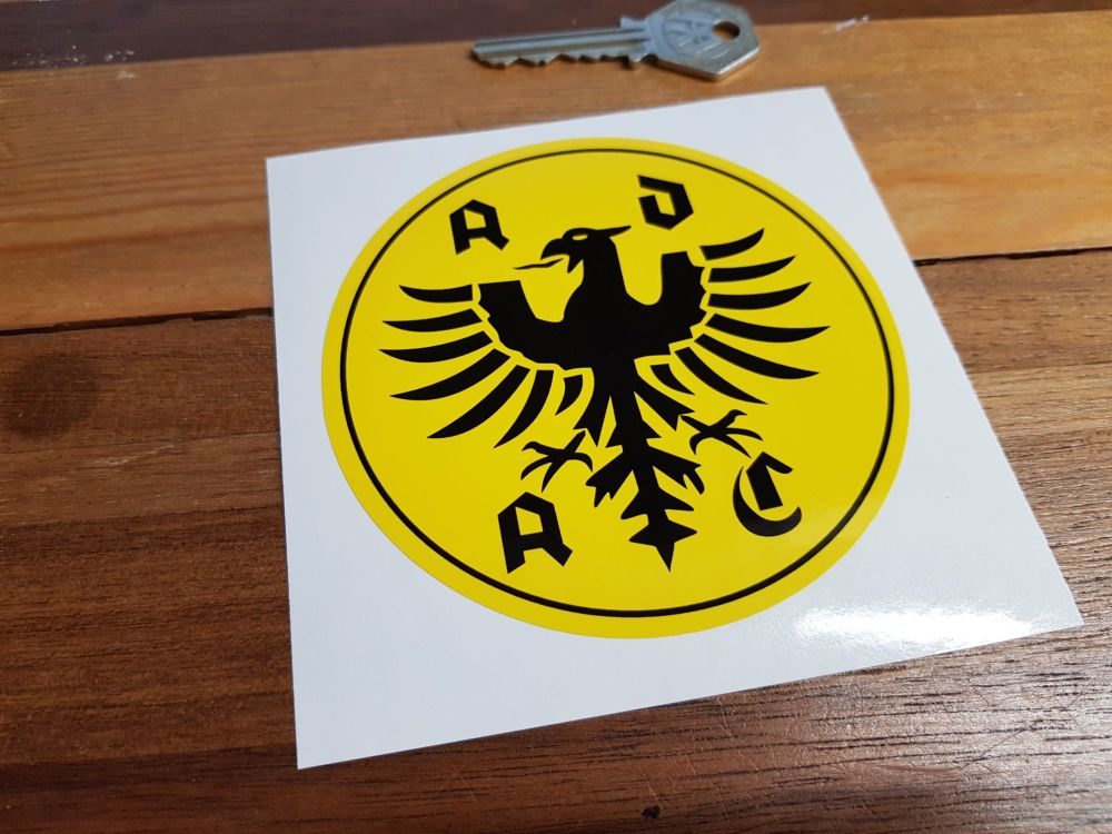 "ADAC German Automobile Club Yellow Sticker. 4""."