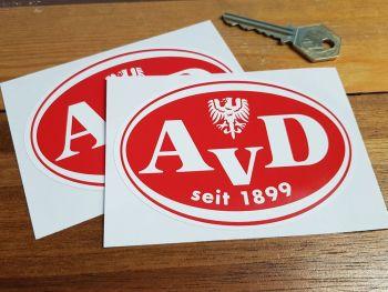 """AvD Automobilclub von Deutschland Est 1899 Stickers. 4"""" Pair."""