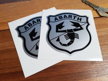 "Abarth & Co Black & Silver Shield Stickers. 3"" or 4"" Pair."