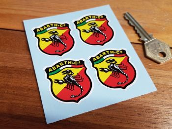 Abarth & Co Classic Style Scorpion Shield Stickers. Set of 4. 20mm or 40mm.