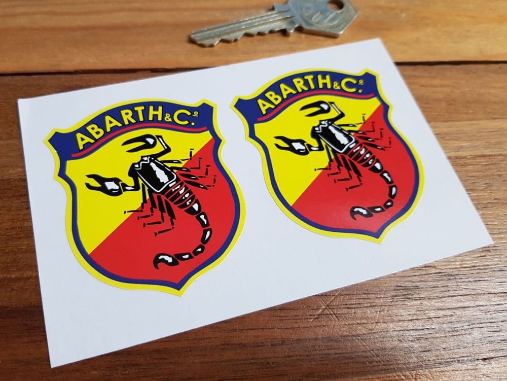 Abarth & Co Old Style Delicate Shield Stickers. 30mm, 65mm, or 70mm Pair.